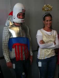 Here's Matt Cole dressed as a rocket man and Amy dressed as an angel.