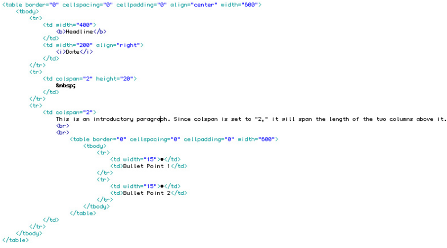 More Tips On Html Tables Creating Nested Tables The Lunch