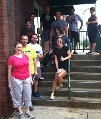 The before picture. Notice how happy and non-sweaty everyone is.