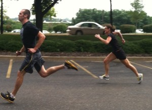Matt and Elizabeth race to the finish