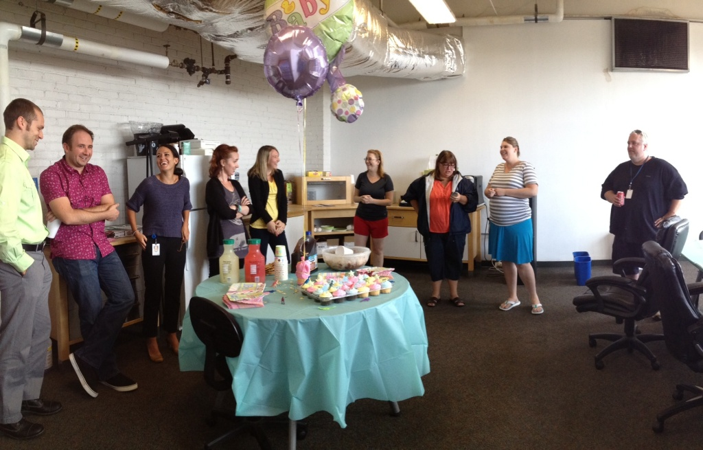 Enjoying some sweet treats at a baby shower.