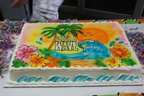 Thanks to Sarah for designing our awesome beach themed cake.